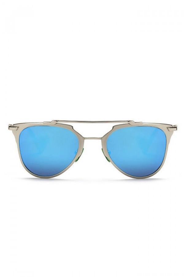 Niebieskie lustrzane okulary przeciwsłoneczne z srebrną oprawką motylki Pamera