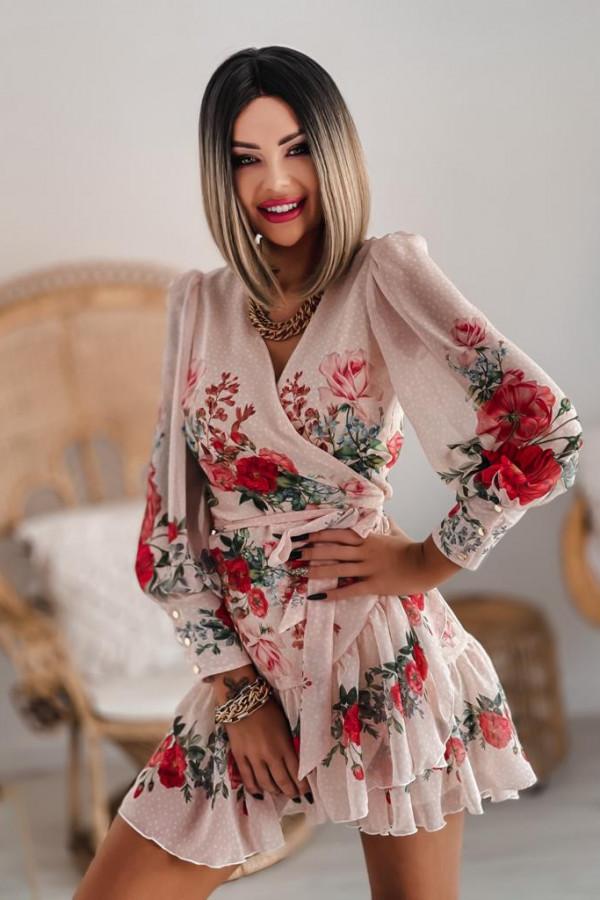 Pudrowo różowa sukienka szyfonowa w kwiaty Flores