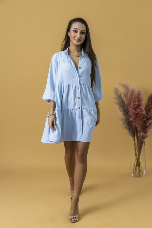 Niebieska sukienka koszulowa oversize z falbankami Antonella