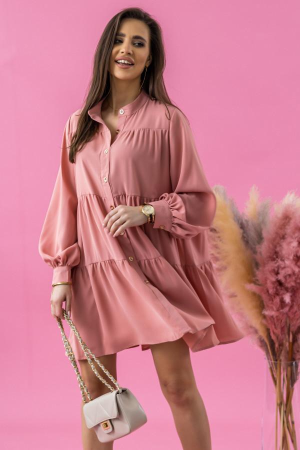 Różowa sukienka koszulowa oversize z falbankami Antonella