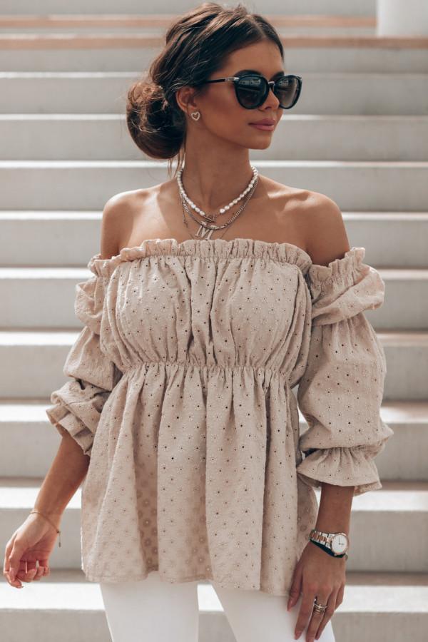 Beżowa haftowana bluzka hiszpanka Salma
