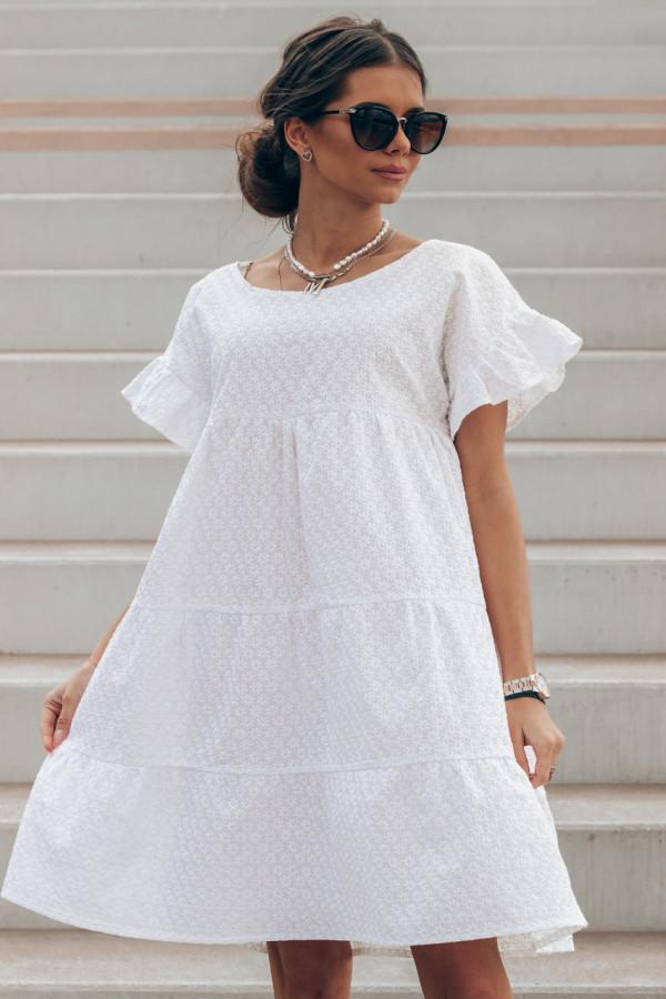 Biała sukienka haftowana oversize Melania