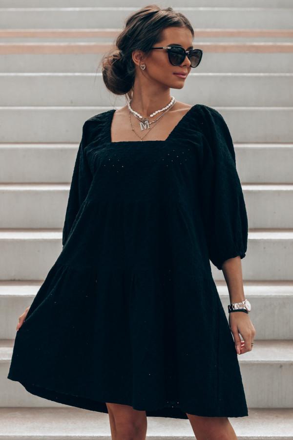 Czarna ażurowa sukienka hiszpanka Juliana
