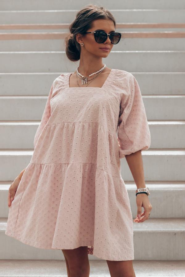 Pudrowo różowa ażurowa sukienka hiszpanka Juliana