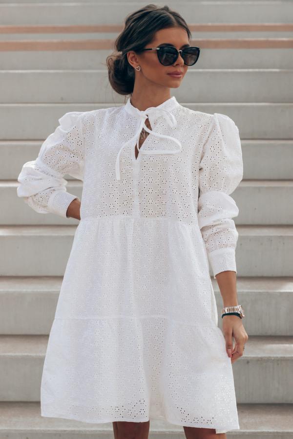 Biała ażurowa sukienka rozkloszowana Esther