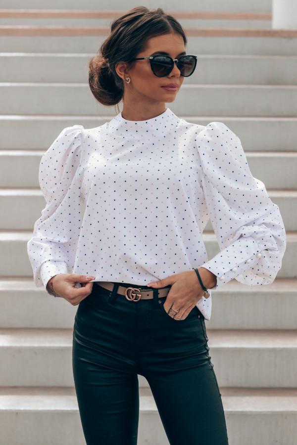 Ecru bluzka w kropki z bufiastymi rękawami Lorena