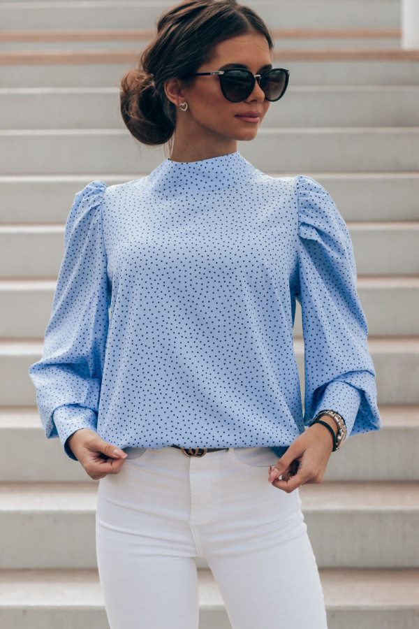 Niebieska bluzka w kropki z bufiastymi rękawami Lorena