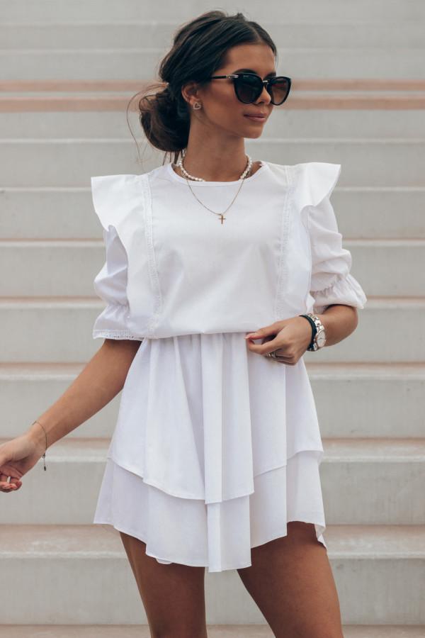 Biała bawełniana sukienka rozkloszowana z haftem Noelia