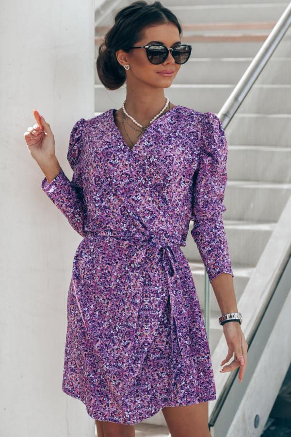 Fioletowa sukienka kwiatowa kopertowa V-Neck Maribel