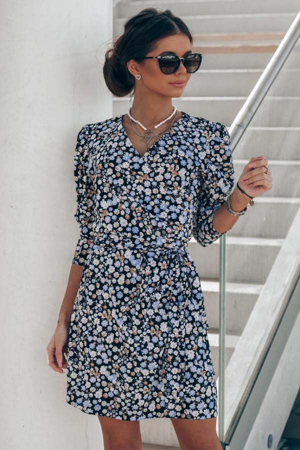 Czarno-niebieska sukienka kwiatowa kopertowa V-Neck Maribel