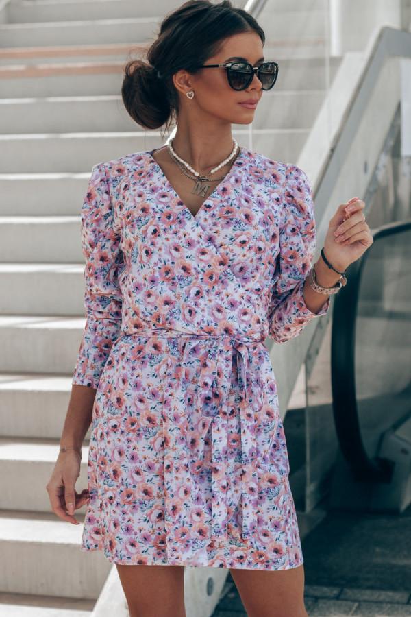 Różowo-niebieska sukienka kwiatowa kopertowa V-Neck Maribel