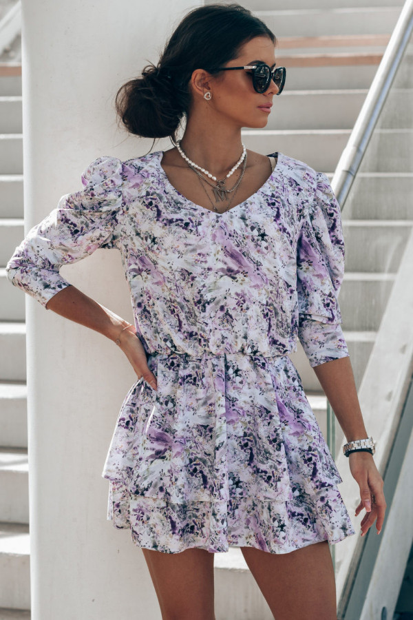 Niebiesko-fioletowa sukienka rozkloszowana V-Neck Merche