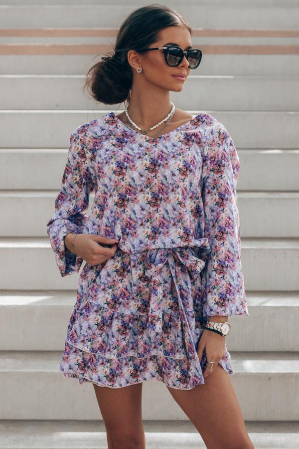 Lawendowa pastelowa sukienka rozkloszowana z falbankami V-Neck Susana