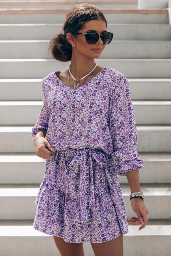 Fioletowo-niebieska sukienka rozkloszowana z falbankami V-Neck Susana