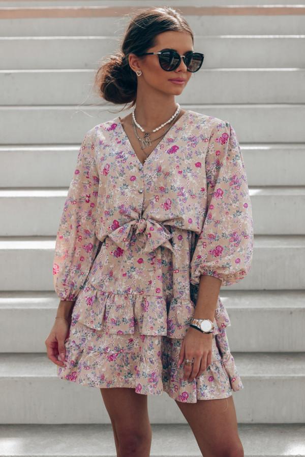 Brązowa sukienka kwiatowa rozkloszowana z falbankami Abella