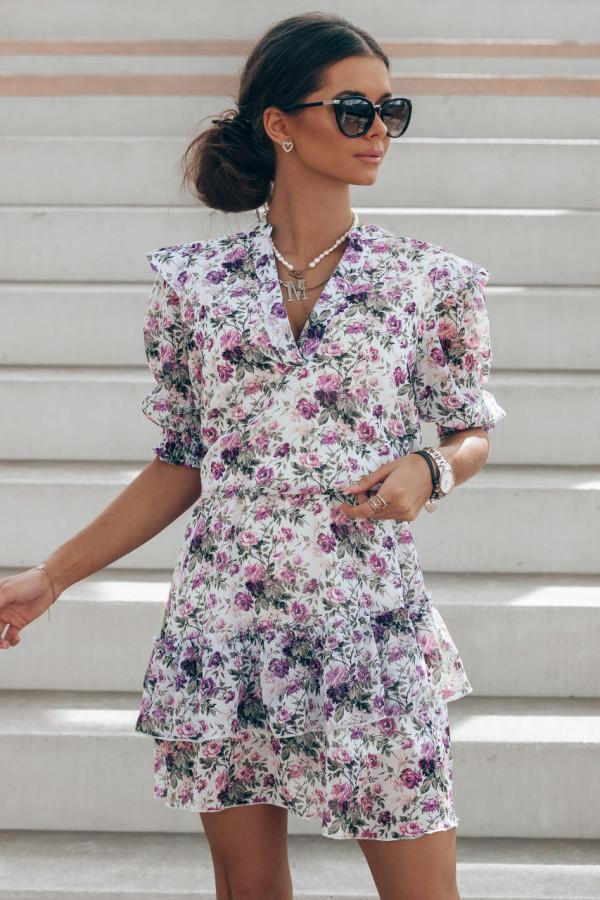 Fioletowa kwiatowa rozkloszowana sukienka V-Neck Caterina