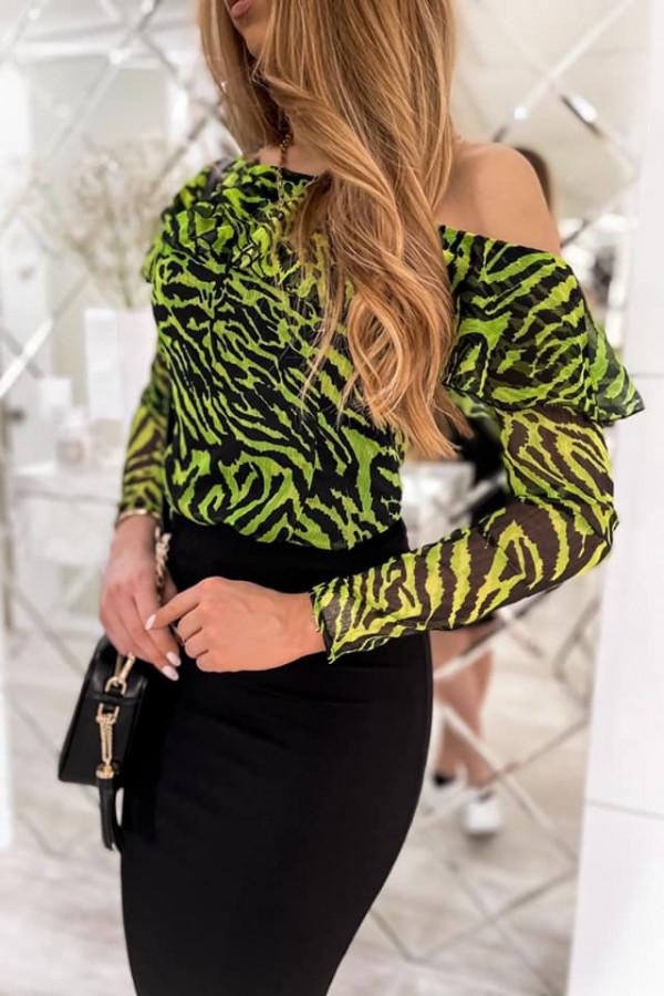 Zielono-czarna panterkowa bluzka hiszpanka na jedno ramię Celia