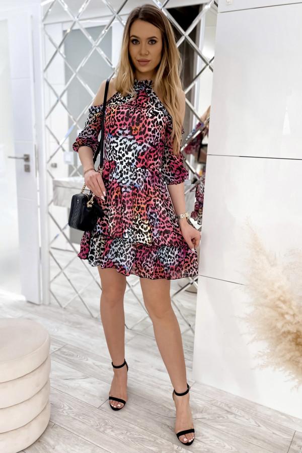 Kolorowa panterkowa sukienka hiszpanka z falbankami Claudia