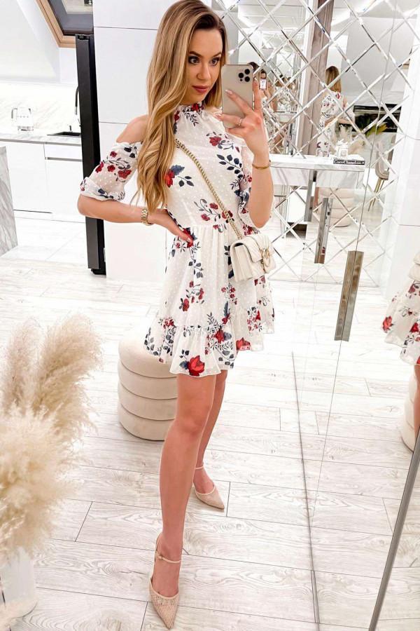 Biała kwiatowa sukienka hiszpanka z falbankami Claudia