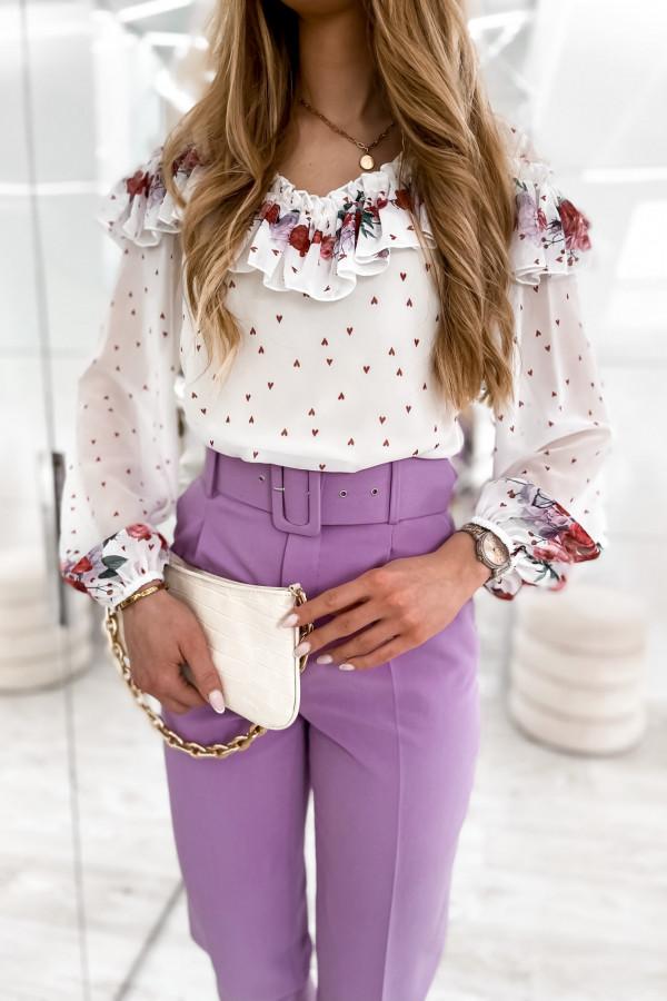 Biała bluzka hiszpanka z falbankami w kwiaty Julia