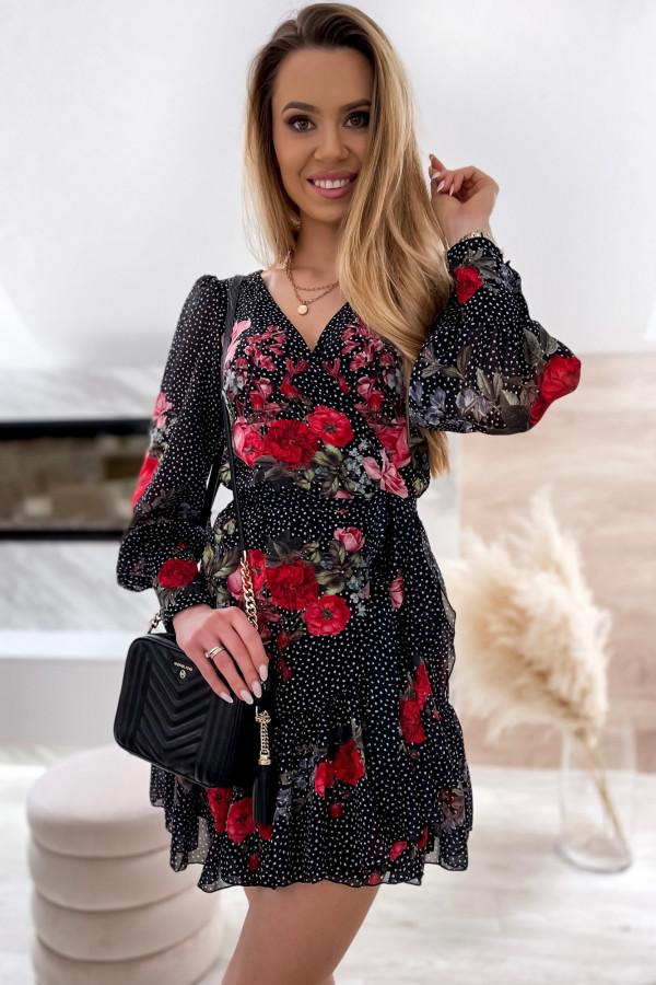 Czarno-czerwona sukienka szyfonowa w kwiaty Flores