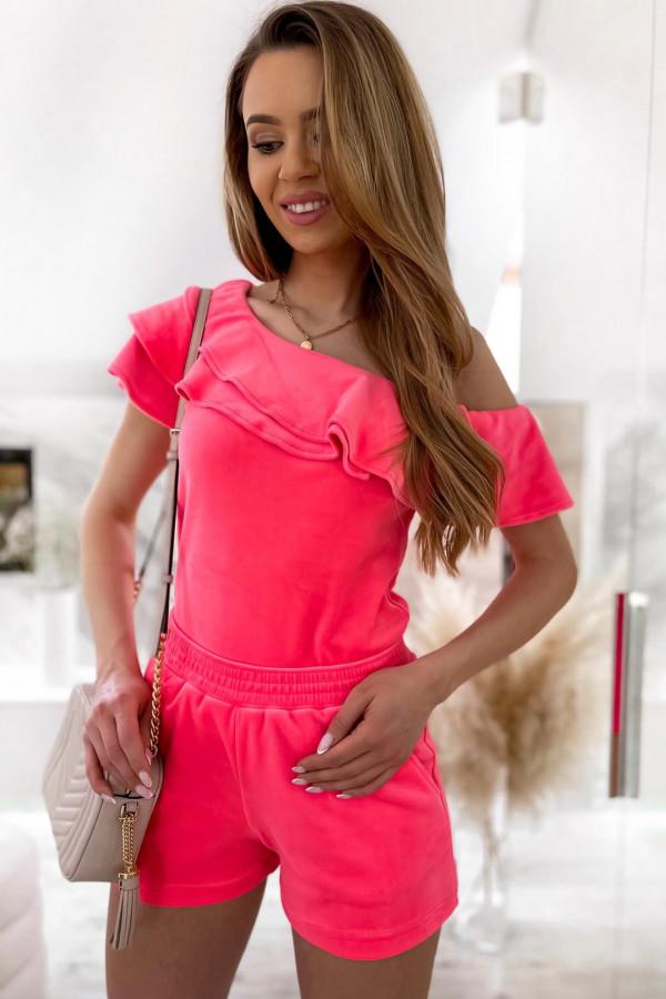 Różowy krótki komplet damski hiszpanka z szortami Clarisa