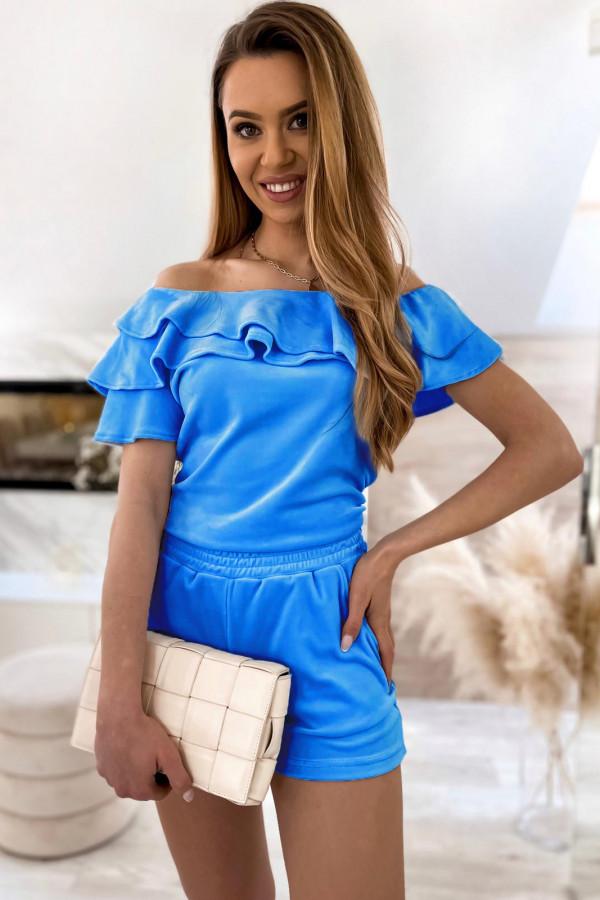 Niebieski krótki komplet damski hiszpanka z szortami Clarisa