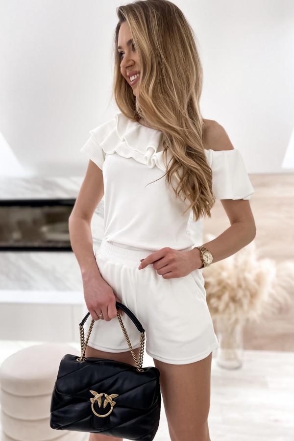 Biały krótki komplet damski hiszpanka z szortami Clarisa