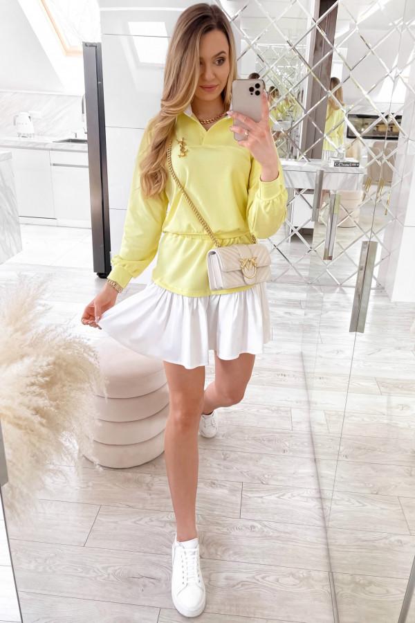 Żółty zestaw spódniczki i bluzy Dulce