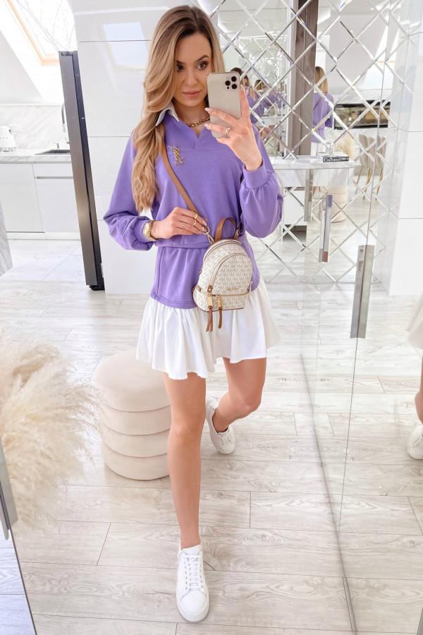 Fioletowy zestaw spódniczki i bluzy Dulce