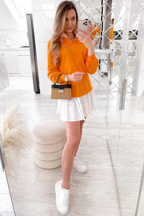 Pomarańczowy zestaw spódniczki i bluzy Dulce
