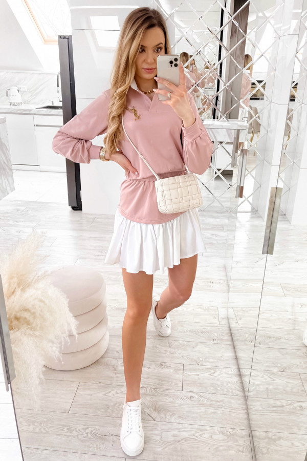 Jasnoróżowy zestaw spódniczki i bluzy Dulce