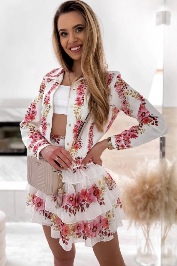 Różowy kwiatowy komplet katany i spódniczki Florencia