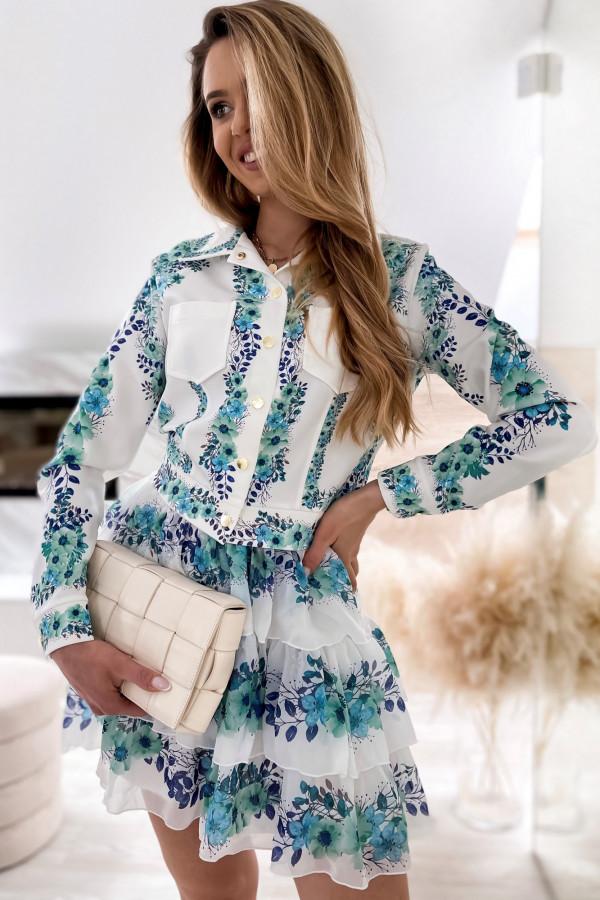 Niebieski kwiatowy komplet katany i spódniczki Florencia