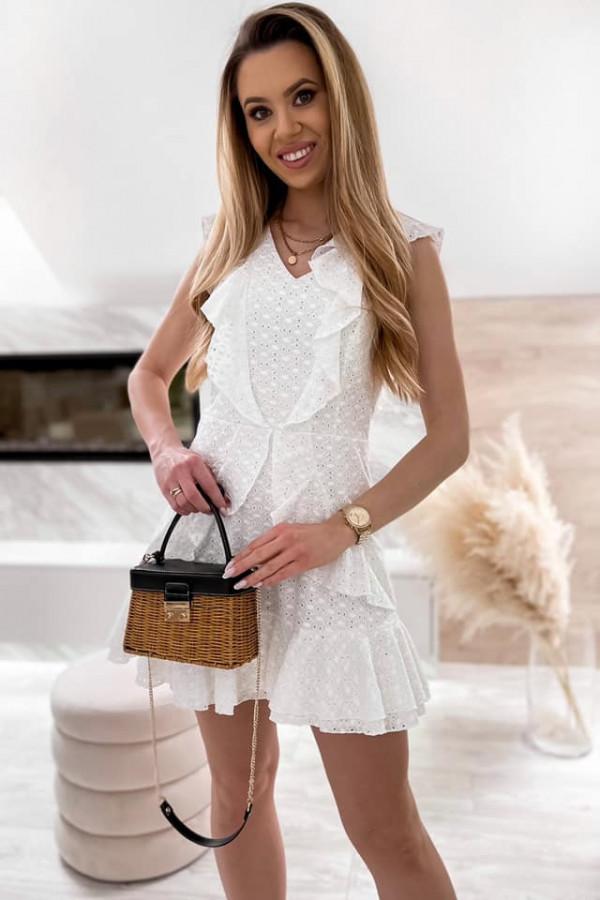 Biała bawełniana ażurowa sukienka z falbankami Emelina