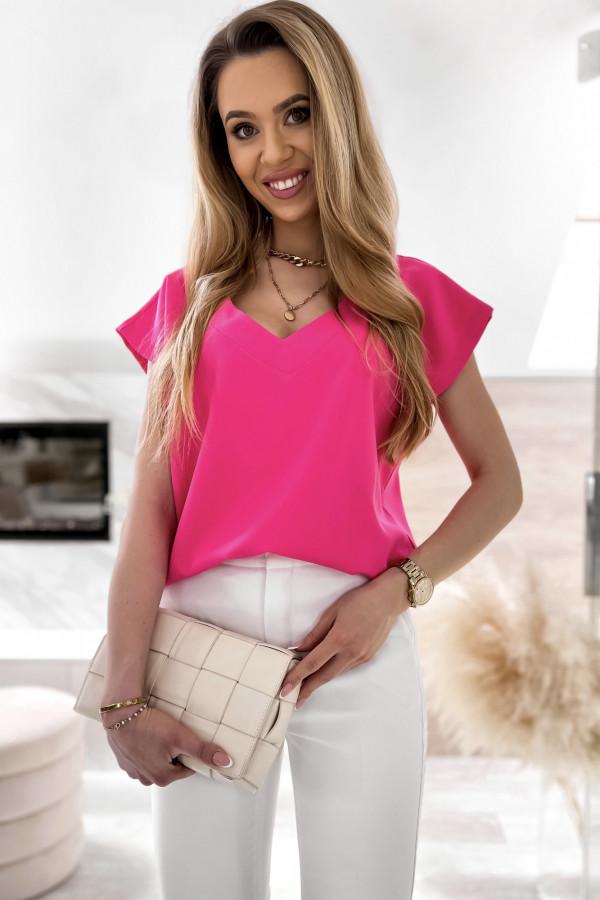 Różowa elegancka bluzka V-Neck Clara