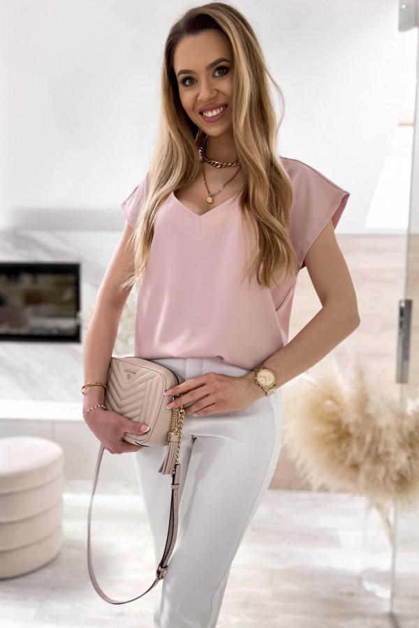 Pudrowo różowa elegancka bluzka V-Neck Clara