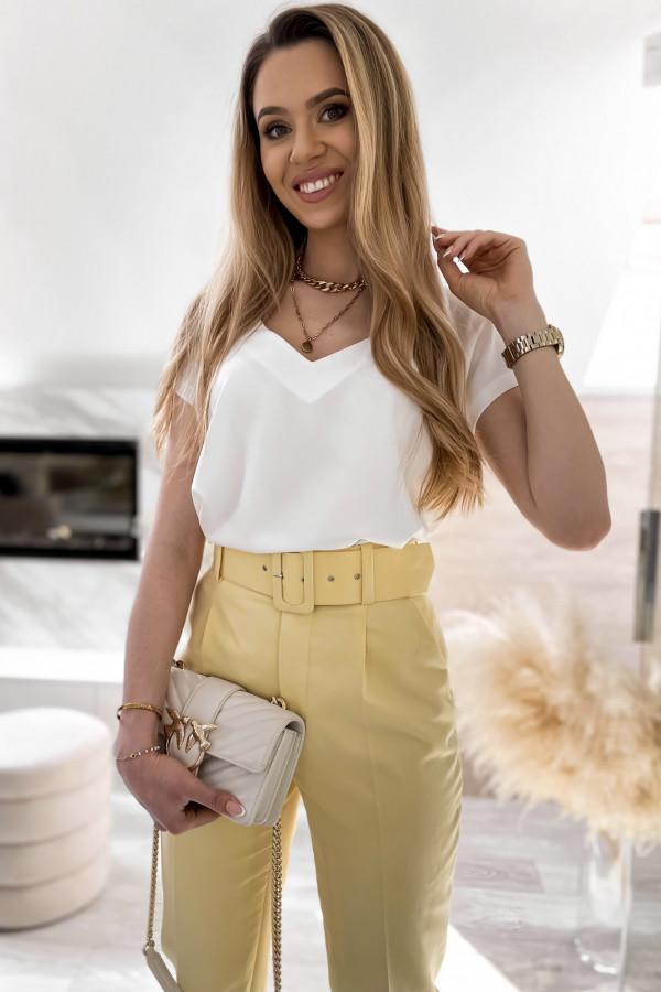 Biała elegancka bluzka V-Neck Clara