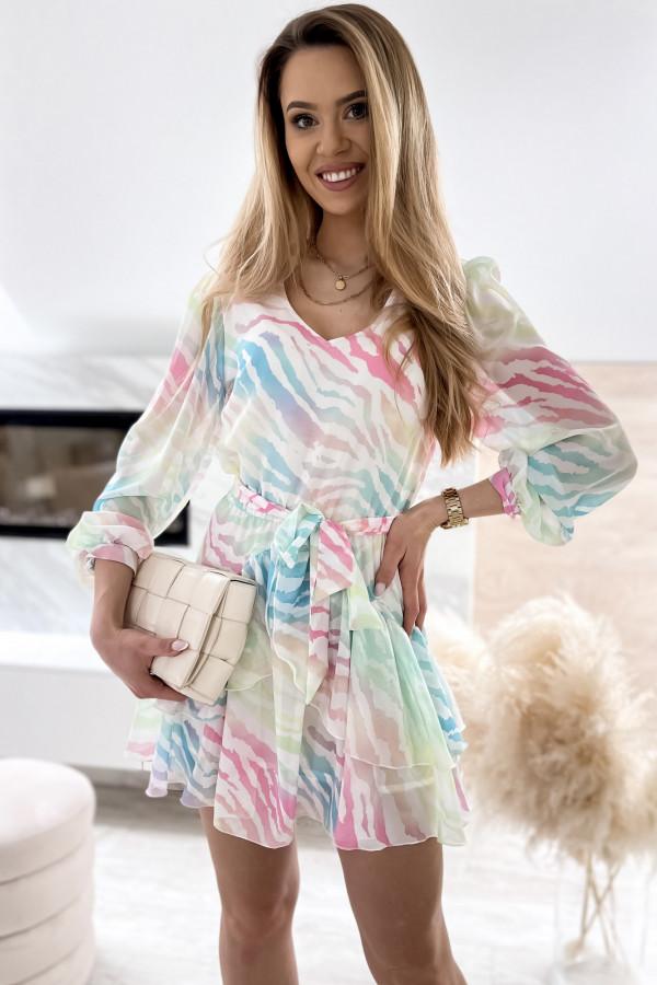 Pastelowa panterkowa sukienka szyfonowa rozkloszowana Virgo