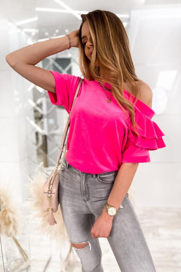 Fuksjowa welurowa bluzka z falbankami i krótkim rękawem Wendy