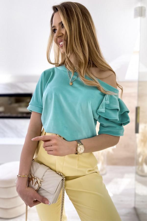 Miętowa welurowa bluzka z falbankami i krótkim rękawem Wendy