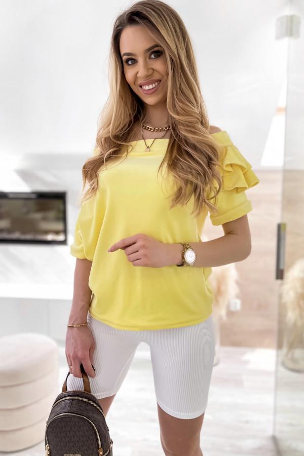Żółta welurowa bluzka z falbankami i krótkim rękawem Wendy