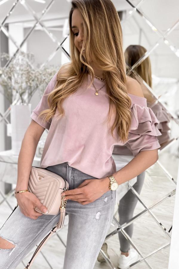 Brudnoróżowa welurowa bluzka z falbankami i krótkim rękawem Wendy