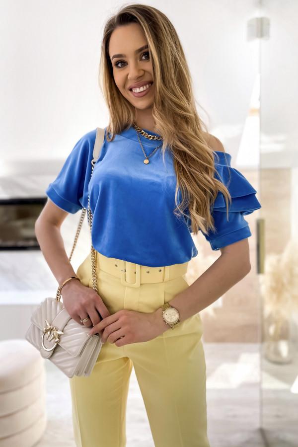 Niebieska welurowa bluzka z falbankami i krótkim rękawem Wendy