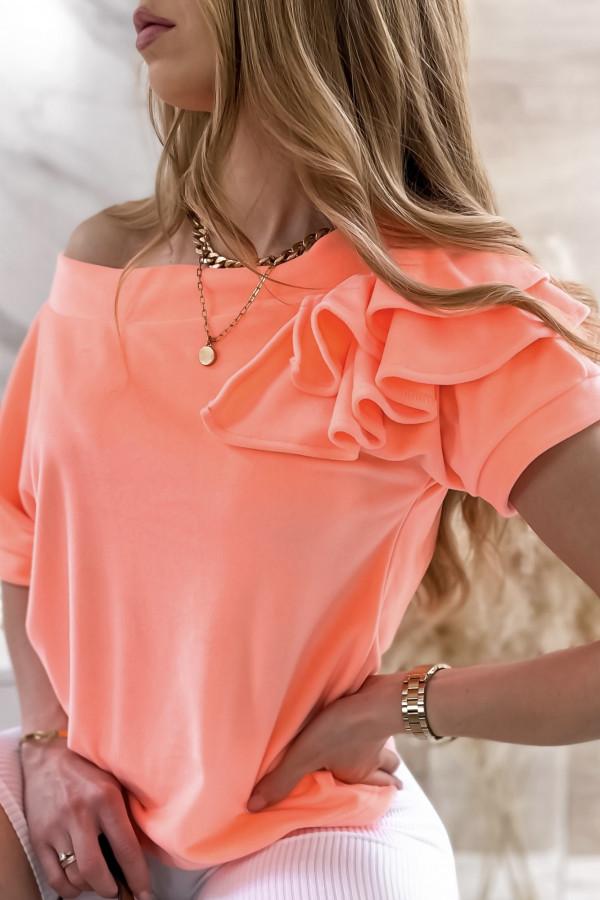 Pomarańczowa welurowa bluzka z falbankami i krótkim rękawem Wendy