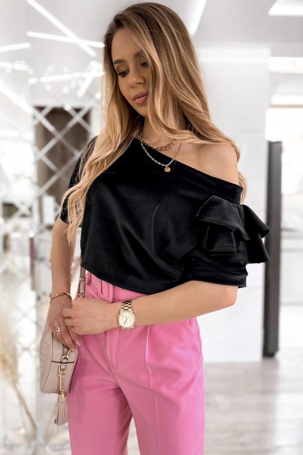 Czarna welurowa bluzka z falbankami i krótkim rękawem Wendy