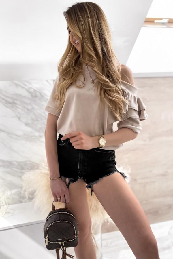 Beżowa welurowa bluzka z falbankami i krótkim rękawem Wendy