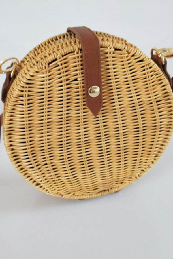Brązowa okrągła torebka damska wiklinowa Souci