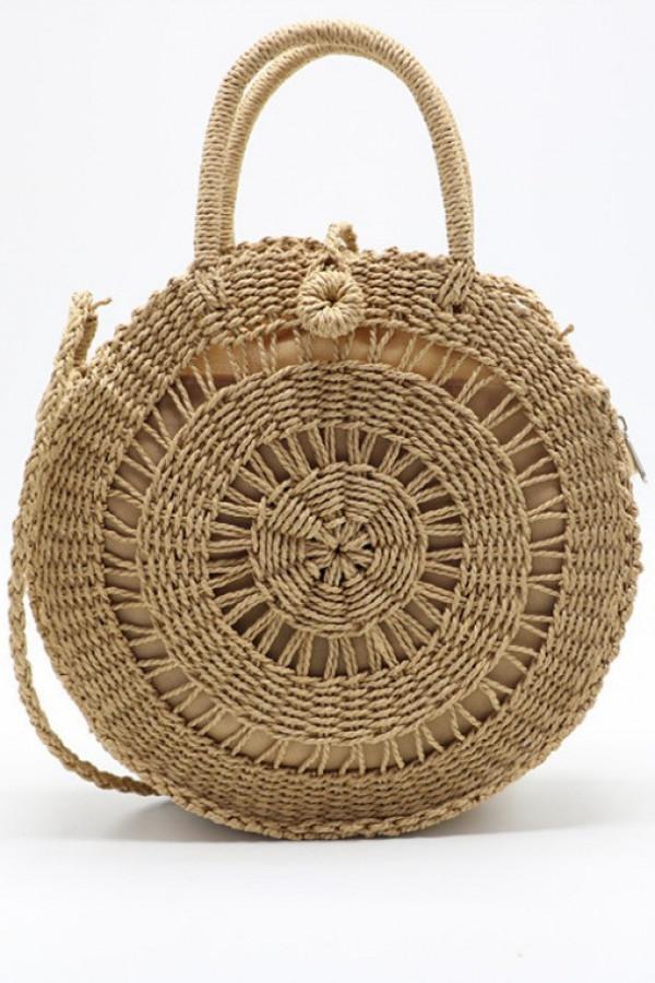 Brązowa okrągła torebka damska wiklinowa Corazona