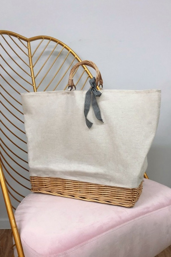 Beżowa torebka damska wiklinowa shopper Aperto